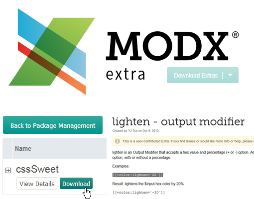 cssSweet : une suite d'outils pour gérer les feuilles de styles pour MODX
