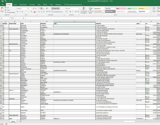 L'un des fichiers Excel exporté vers MODX