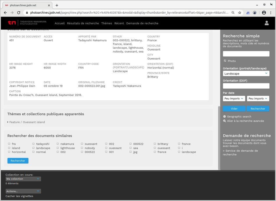 image Banque d'images open source avec importation des métadonnées IPTC/EXIF
